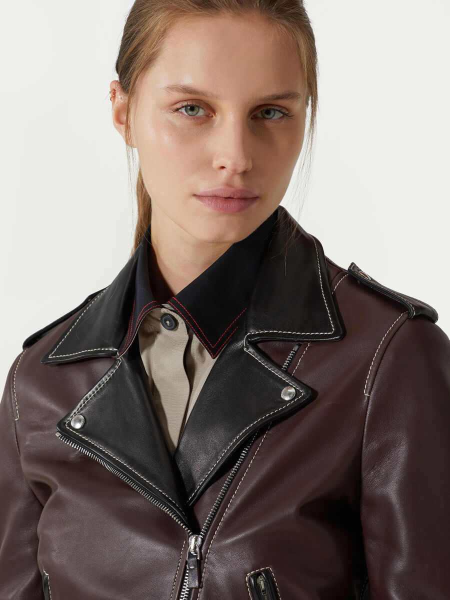Smooth leather biker jacket