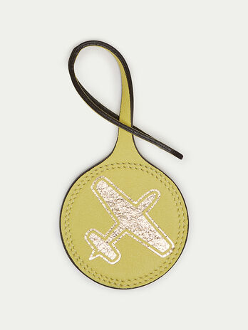 Round airplane charm in Velvet leather