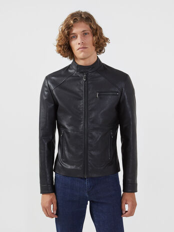 Slim fit faux leather biker jacket