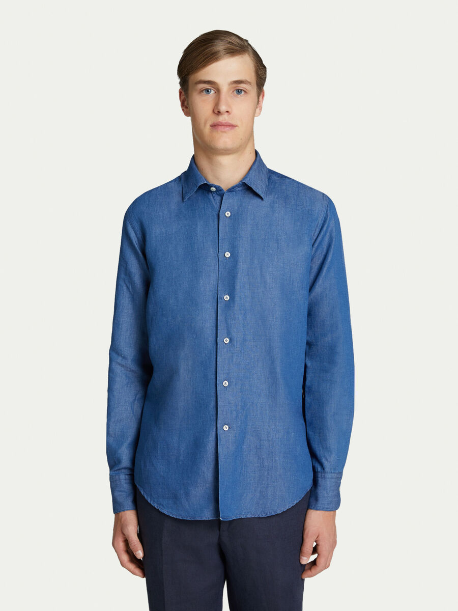 Classic solid colour washed denim shirt