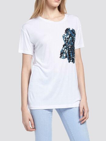 T shirt con paillettes