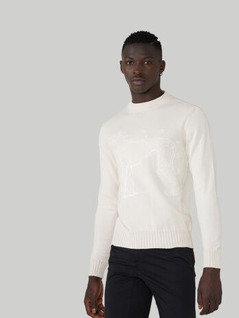 Pullover girocollo regular fit in cotone con ricamo