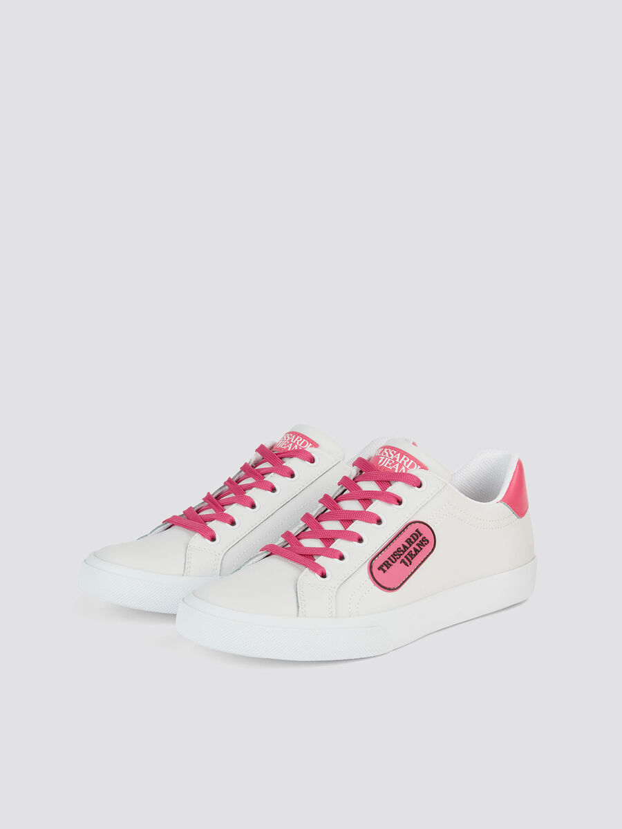 Faux leather lace up sneakers with logo