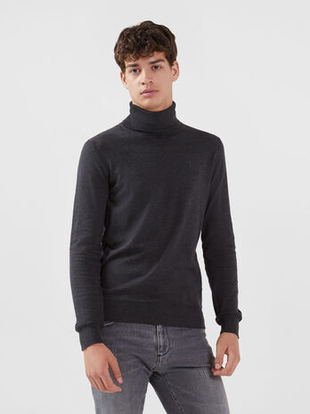 Solid colour cotton silk polo neck pullover