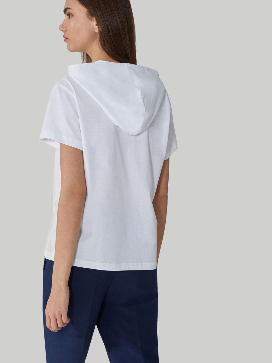 T-shirt en coton a capuche et imprime logo