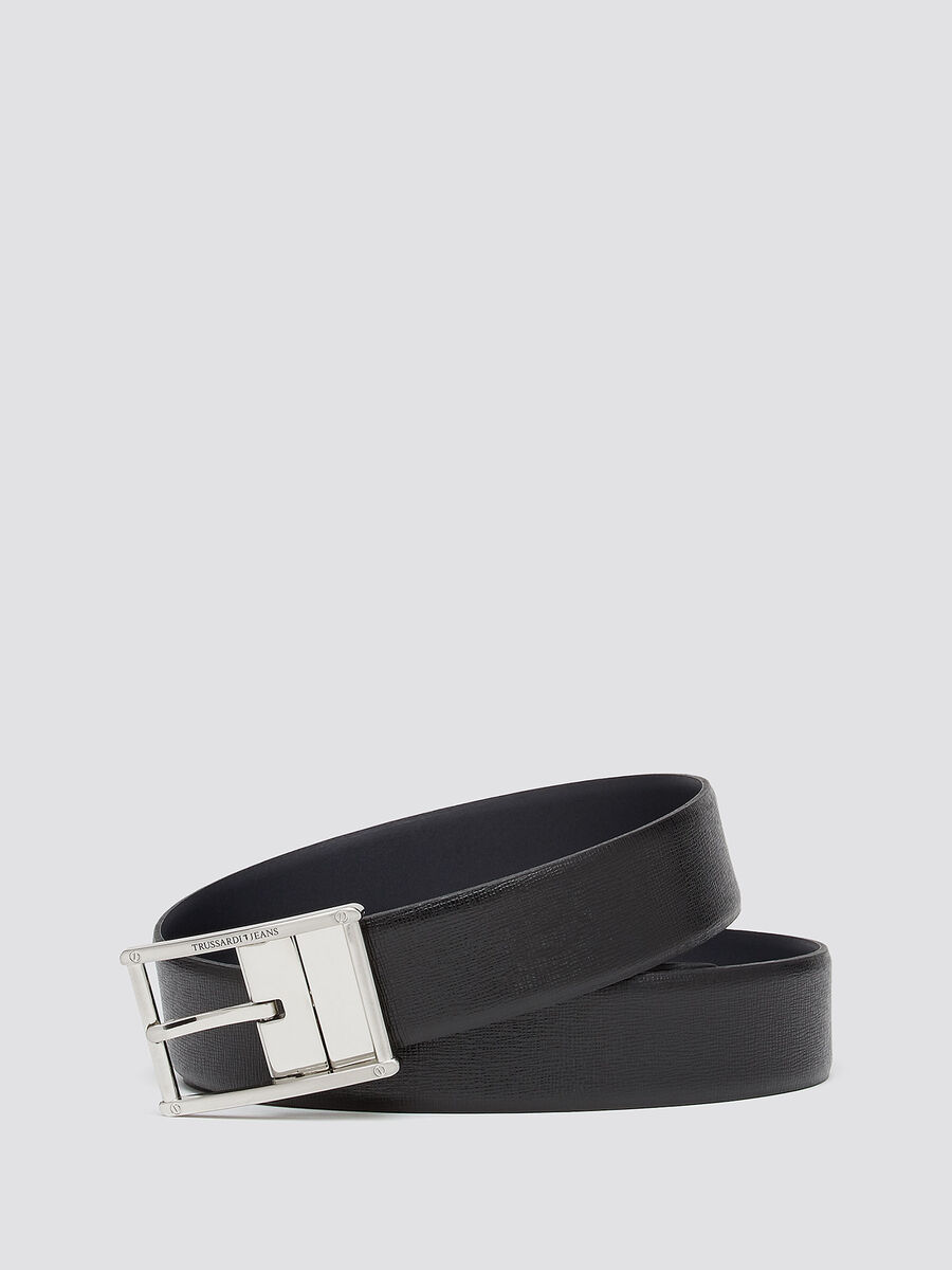 Double face belt in saffiano effect leather