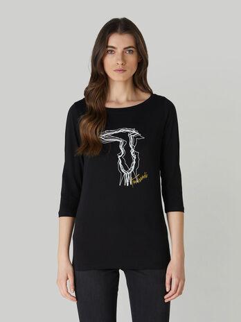 Regular-fit cotton T-shirt with Levriero print