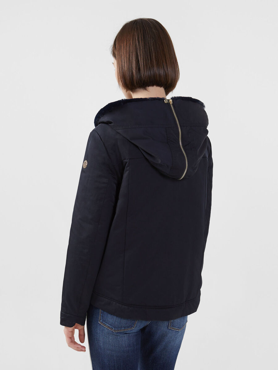 Technical gabardine jacket with hood
