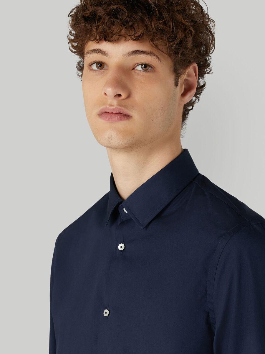 Slim-fit cotton poplin shirt