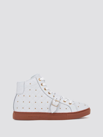 Quilted high top sneakers with studs