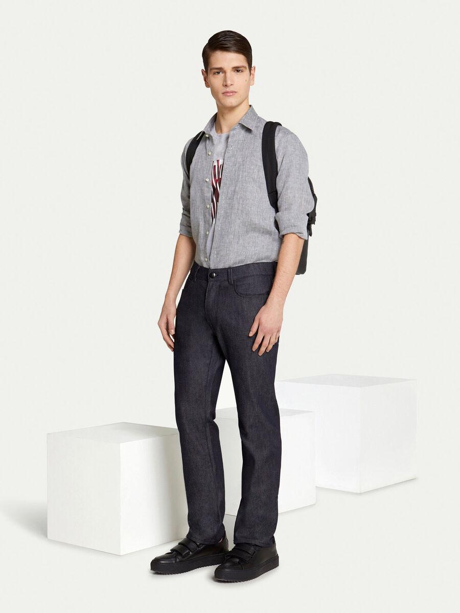 Regular fit shirt in denim effect cotton