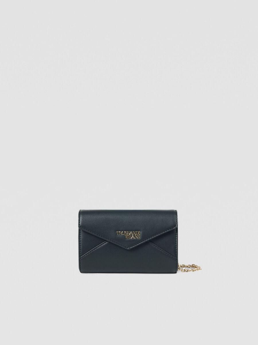 Solid colour faux leather clutch