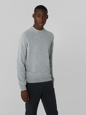 Regular fit cashmere blend crew neck pullover