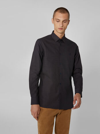 Close fit micro patterned cotton shirt