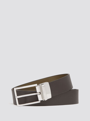 Large grain leather belt