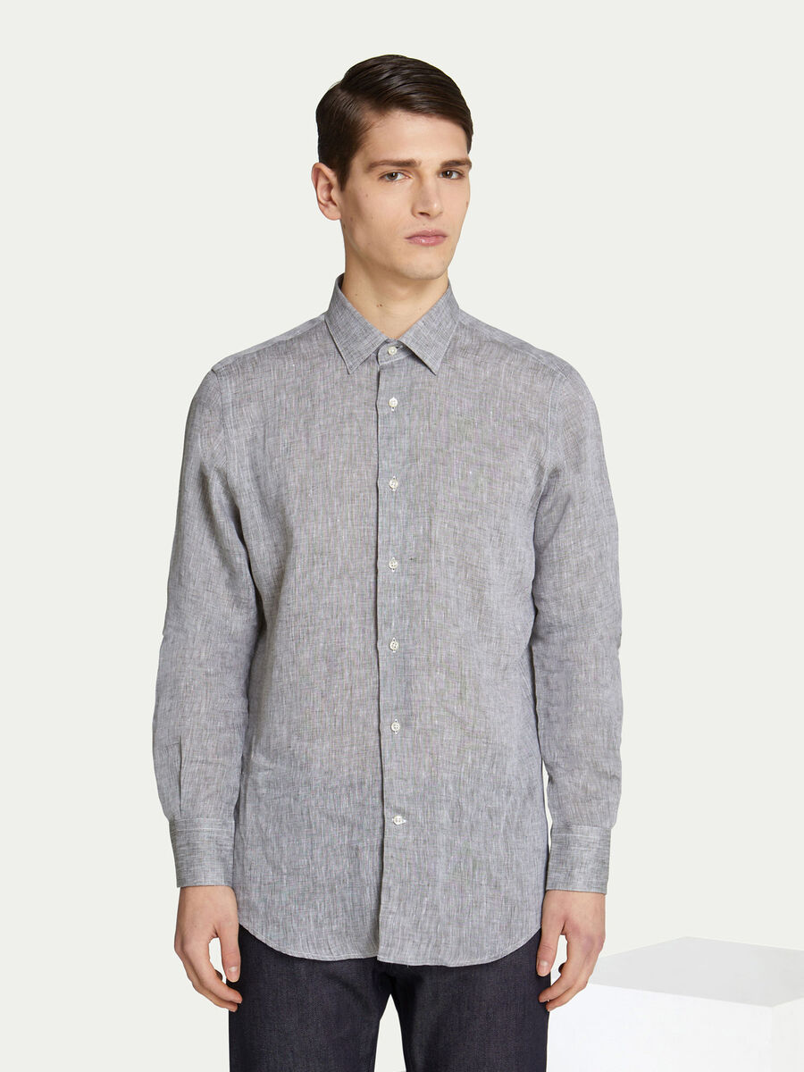 Camicia regular fit in cotone effetto denim