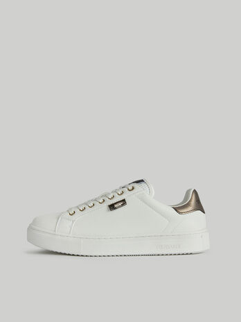 Faux leather sneakers with branded label