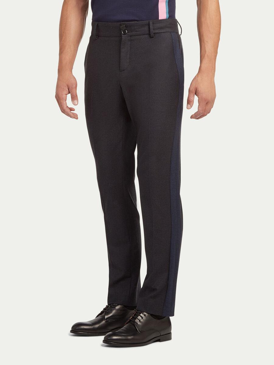 Pantalon uni en coton et laine