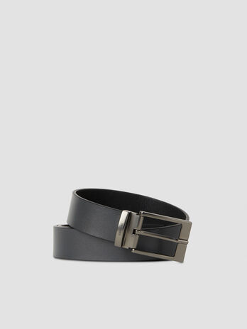 Nappa leather belt with satin finish buckle