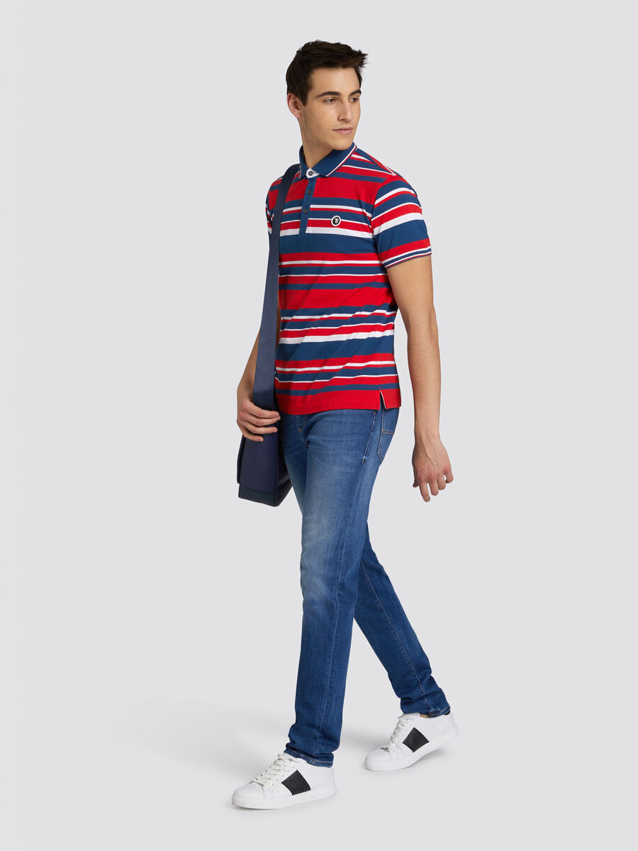 Regular fit striped cotton polo shirt with logo detail