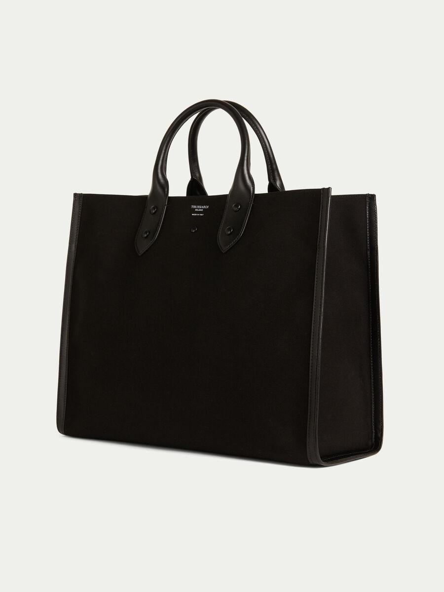 Shopping bag clean dryllim textile in pelle con logo