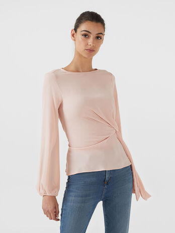 Blusa in georgette double con fiocco