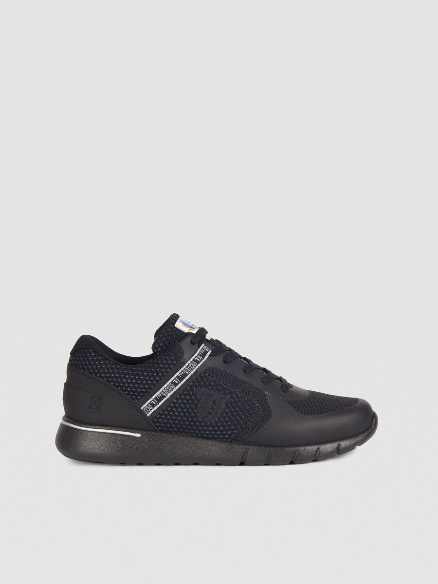 Technical mesh running shoes with mirrored label