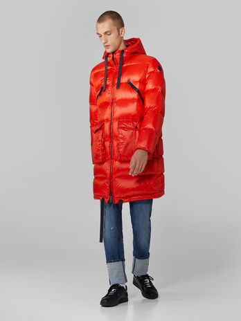 Quilted light nylon midi parka with hood