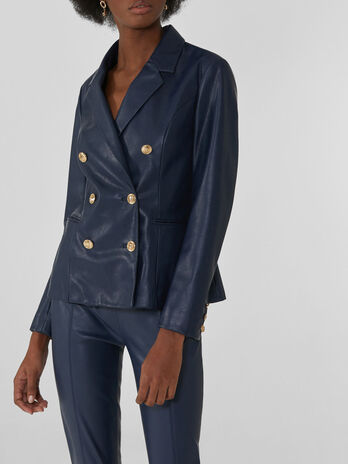 Double-breasted blazer in soft faux leather