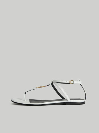 Flat leather T-bar sandals