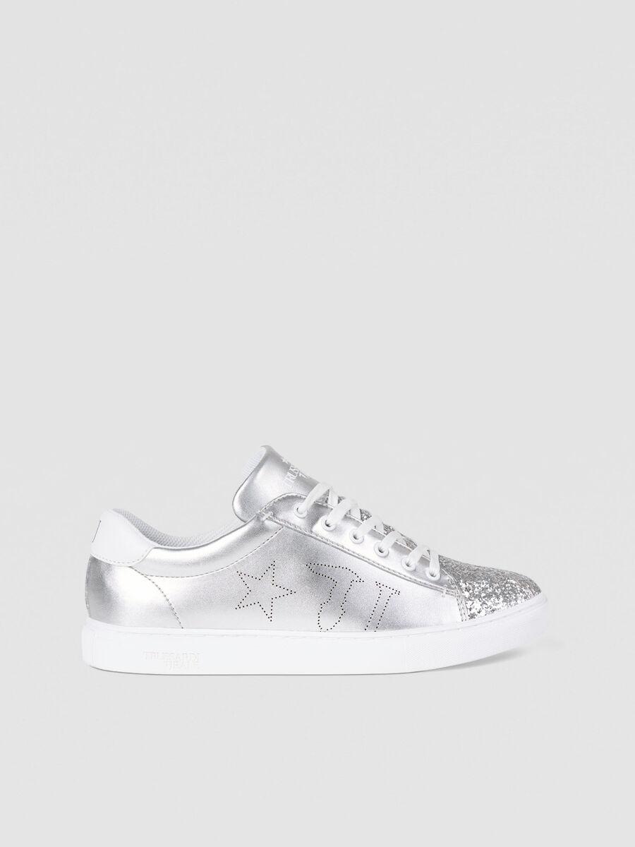Sneaker in similpelle con glitter