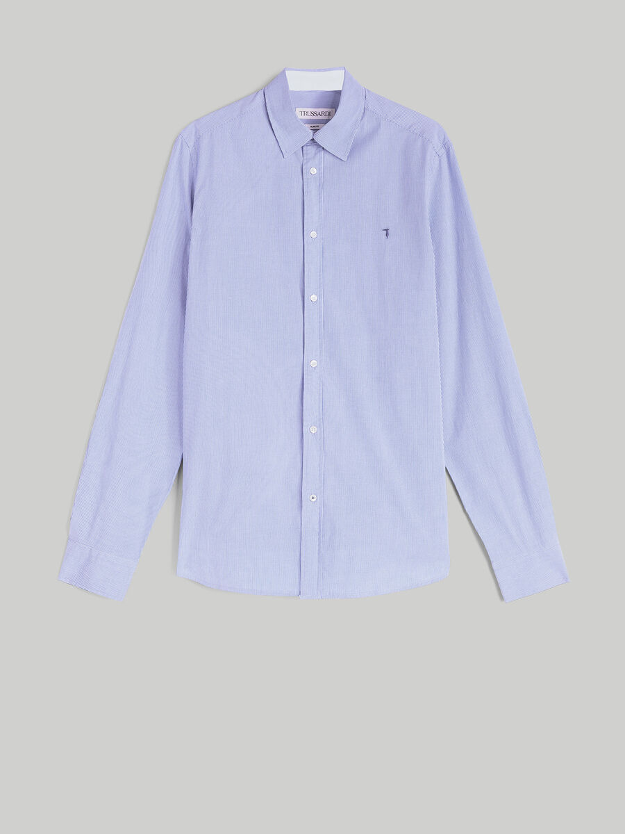 Camicia slim fit in popeline di cotone stretch