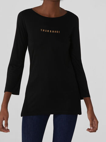 Regular-fit viscose top with lettering
