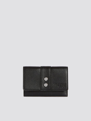 Small Berry bifold card case in studded faux leather
