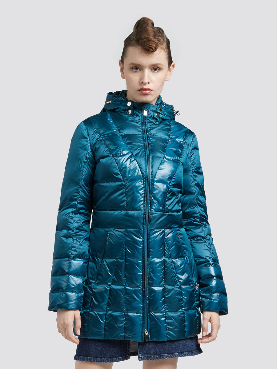 Hooded slim fit down jacket with a shiny look