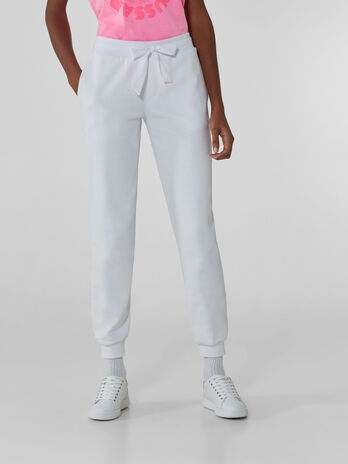 Cotton fleece jogging bottoms with drawstring