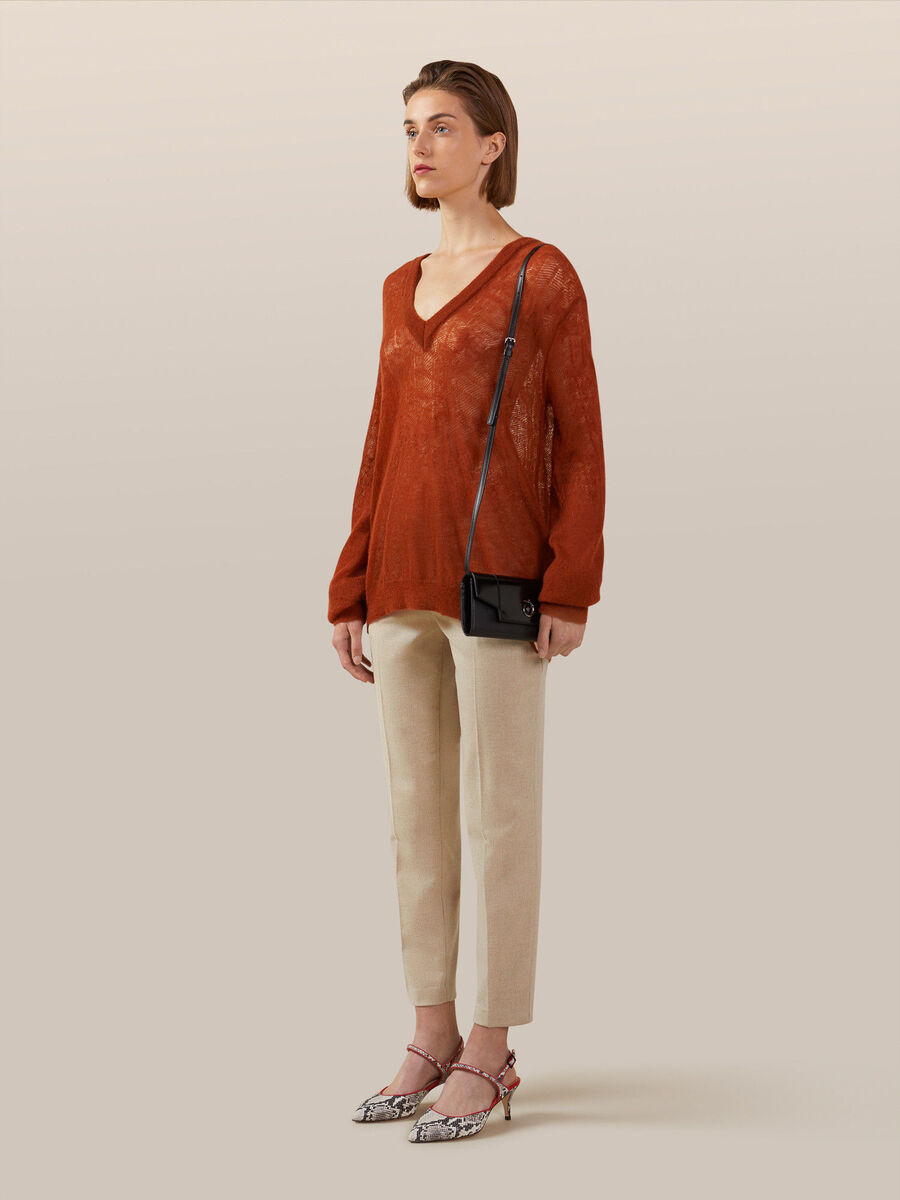 V neck pullover in soft mohair