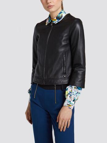 Regular fit biker jacket solid colour leather with logo