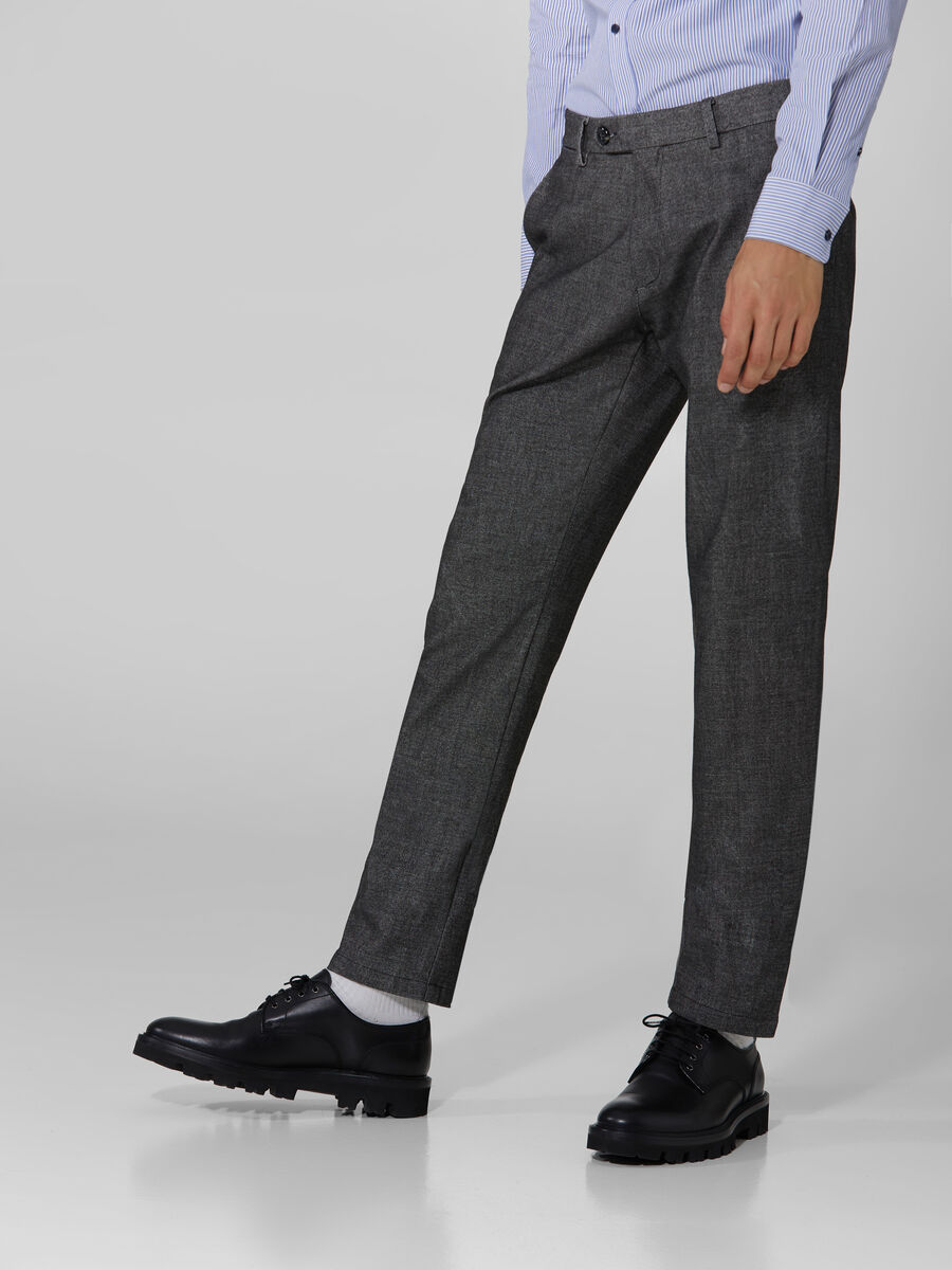 Stamford fit yarn dyed fabric trousers