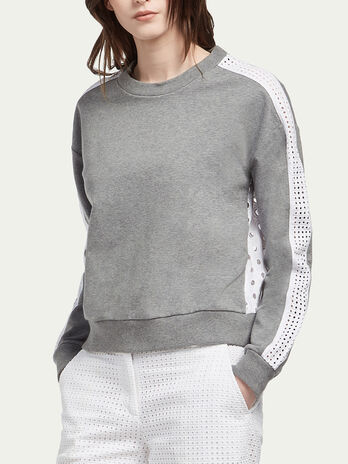 Stretch cotton sweatshirt with broderie anglaise