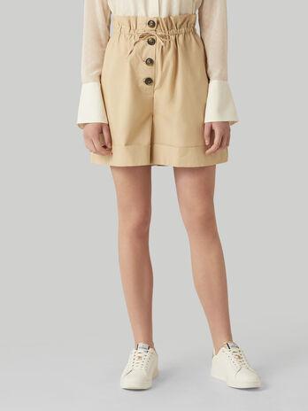 Pantalone bermuda in popeline con coulisse