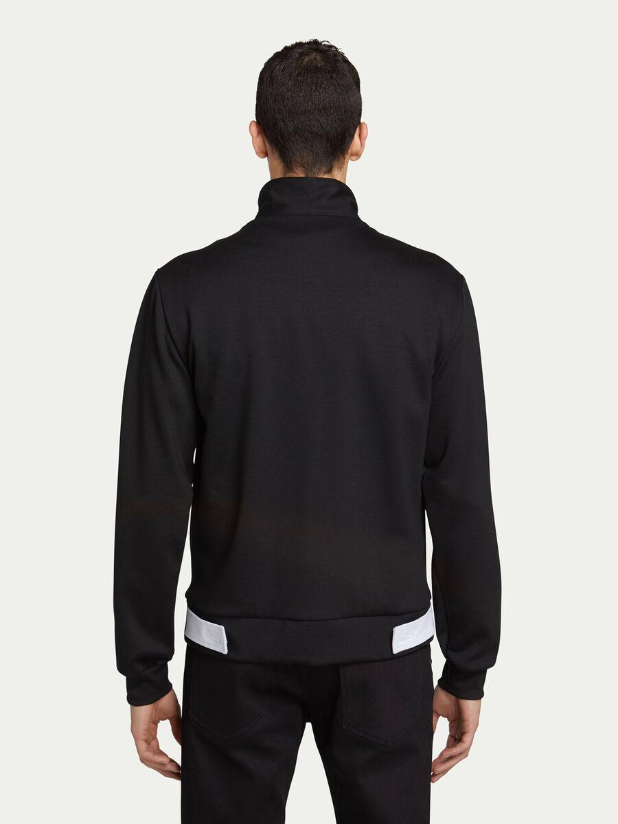 Biker fit zip up sweatshirt in two tone jersey