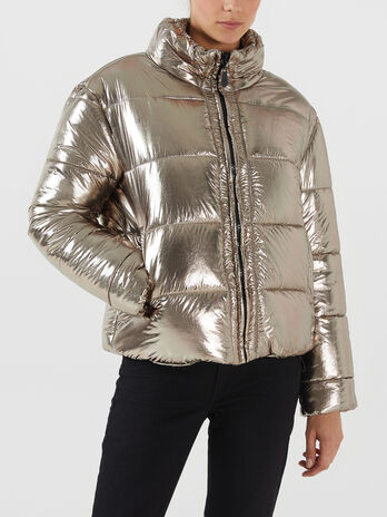 Regular fit metallic nylon down jacket