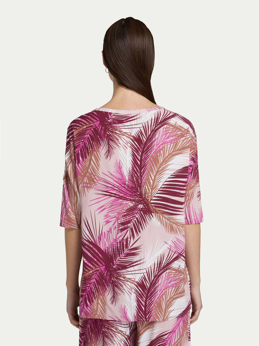 Crepe de chine blouse with palm print
