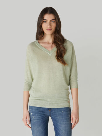 V-neck linen and lurex top