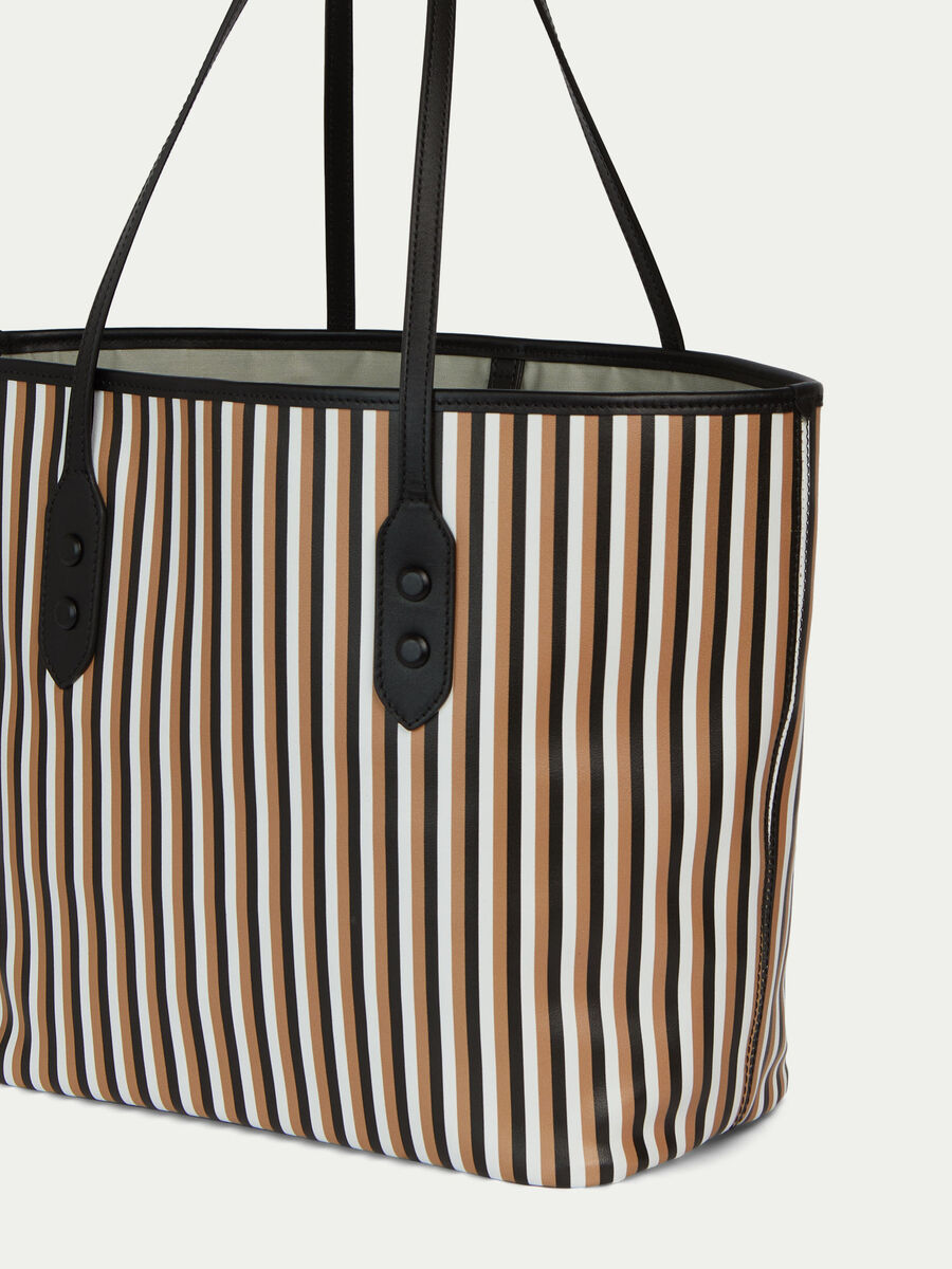 Shopping bag in pelle con stampa rigata multicolor