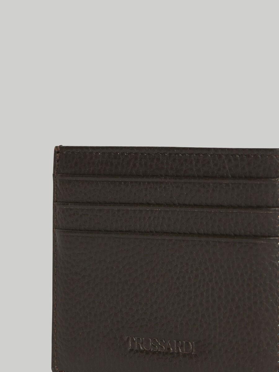 Hammered leather card holder