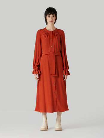 Belted viscose crepe dress