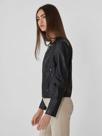 Crew-neck jacket in studded faux leather