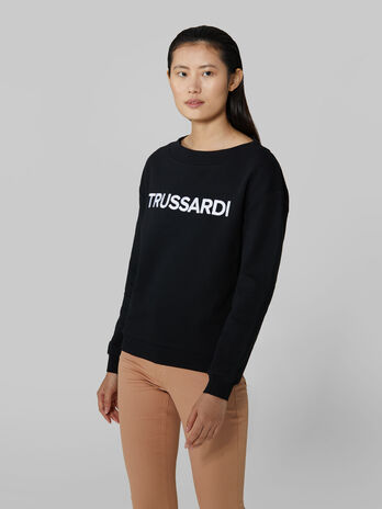 Jersey sweatshirt with embroidered lettering
